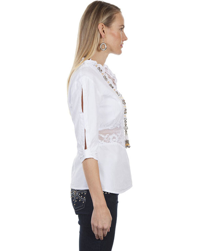 5b5d949e Zoomed Image Cantina by Scully Women's White Lace Peek-A-Boo Blouse, White,  hi