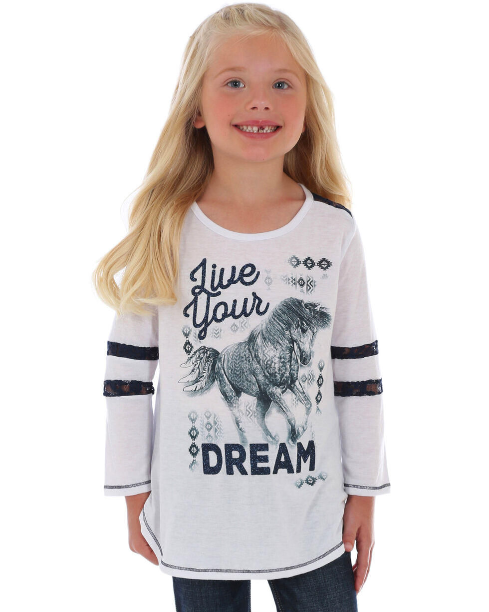 Wrangler Girls' Live Your Dream Graphic  Tee, White, hi-res