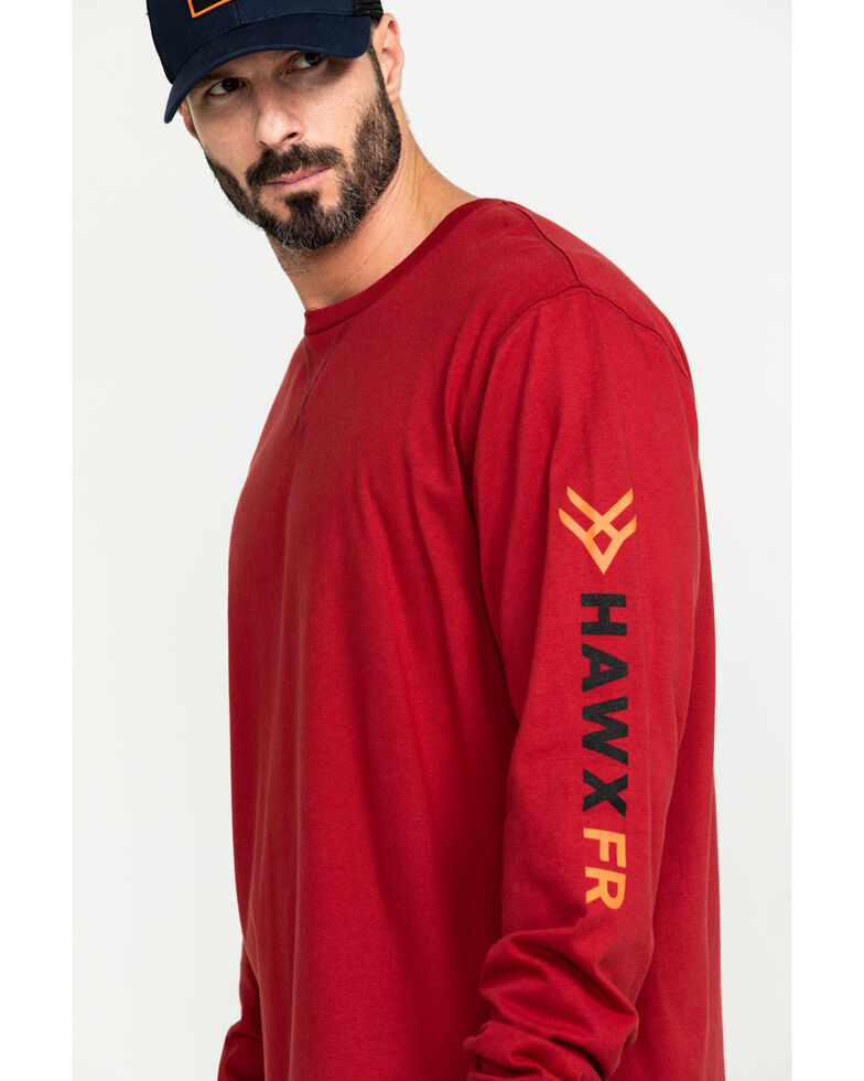 Hawx Men's Red FR Logo Long Sleeve Work T-Shirt - Tall , Red, hi-res
