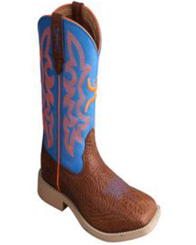HOOey by Twisted X Boy's Neon Blue Cowboy Boots - Square Toe, Cognac, hi-res