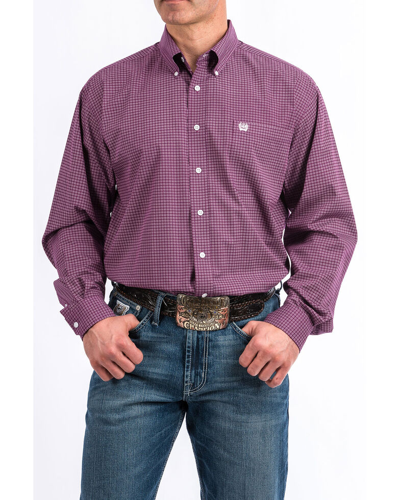 Cinch Men's Purple Geo Print Plain Weave Long Sleeve Western Shirt , Purple, hi-res