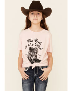 Ali Dee Girls' Pink Best In The West Boots Graphic Short Sleeve Tee , Light Pink, hi-res