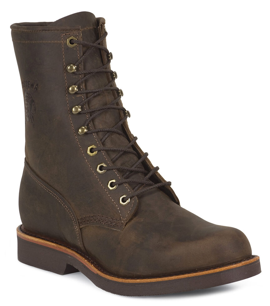 """Chippewa Classic 8"""" Lace-Up Work Boots - Round Toe, Chocolate, hi-res"""