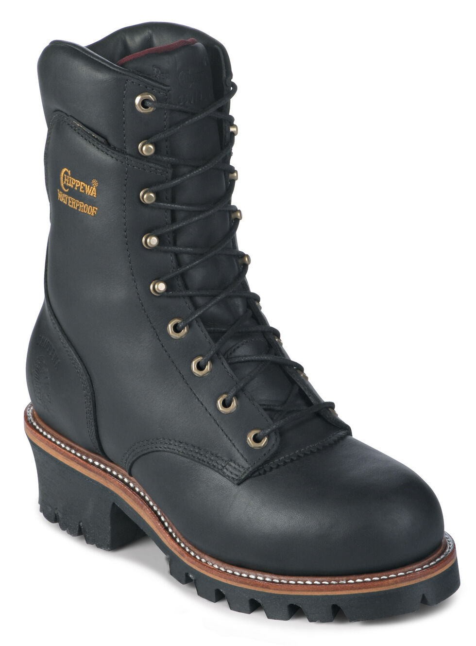 """Chippewa Waterproof Insulated Super 9"""" Logger Work Boots - Round Toe, Black, hi-res"""