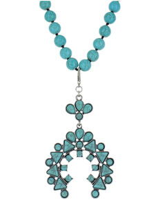 Montana Silversmiths Women's Turquoise Blue Squash Blossom Necklace, Silver, hi-res