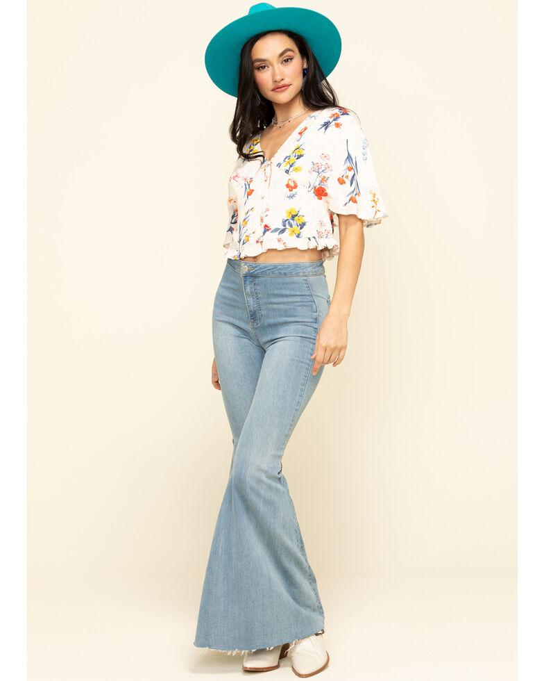 Miss Me Women's Cream Floral Button Down Ruffle Top, Cream, hi-res
