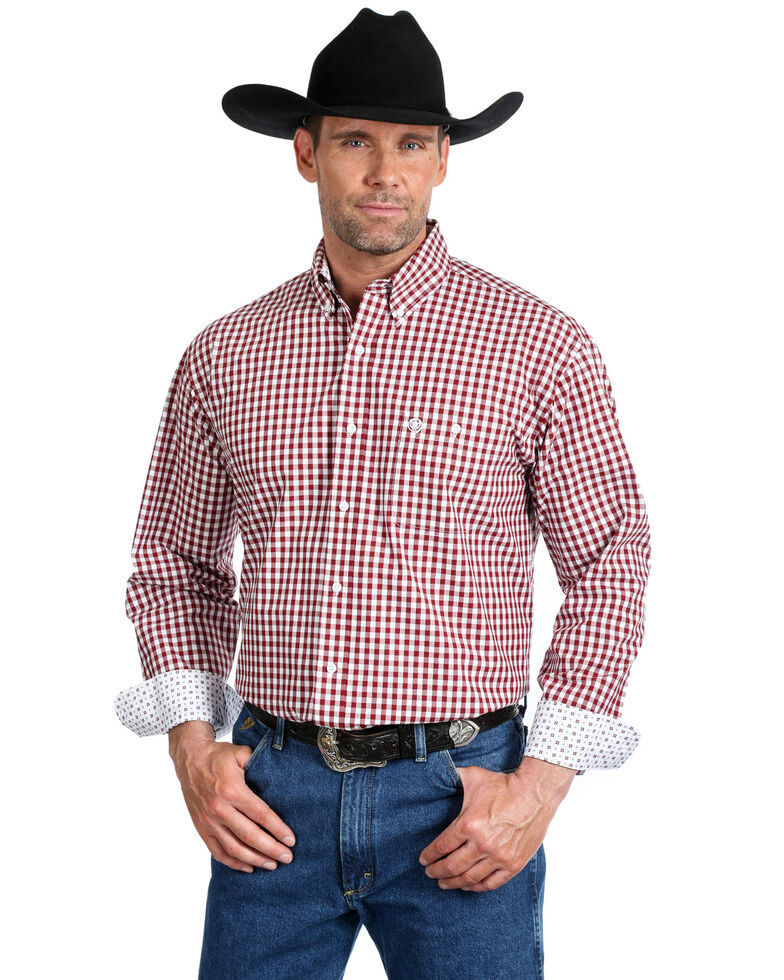 George Strait by Wrangler Men's Burgundy Small Plaid Long Sleeve Western Shirt  , Burgundy, hi-res