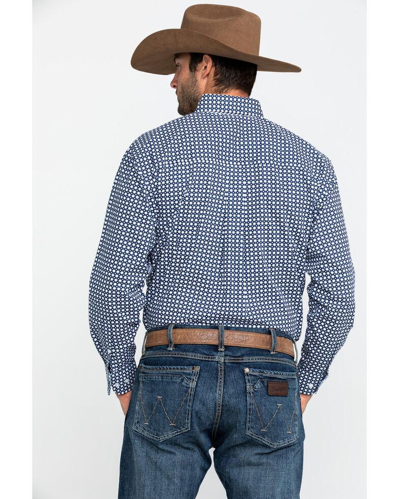 George Strait By Wrangler Men's Navy Geo Print Long Sleeve Western Shirt - Big , Navy, hi-res