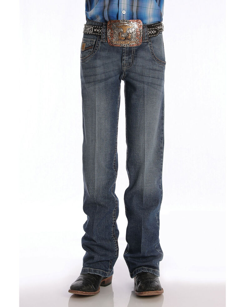 Cinch Boys' 8-18 Performance Relaxed Bootcut Jeans , Blue, hi-res