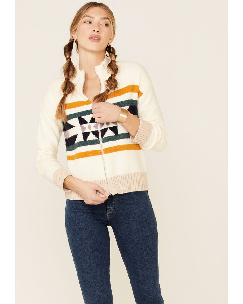 Hem & Thread Women's Aztec Jacquard Zip-Front Sweater , Cream, hi-res
