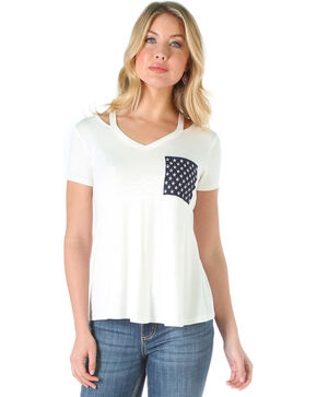 Wrangler Women's Short Sleeve V-Neck Top with Straps , Ivory, hi-res
