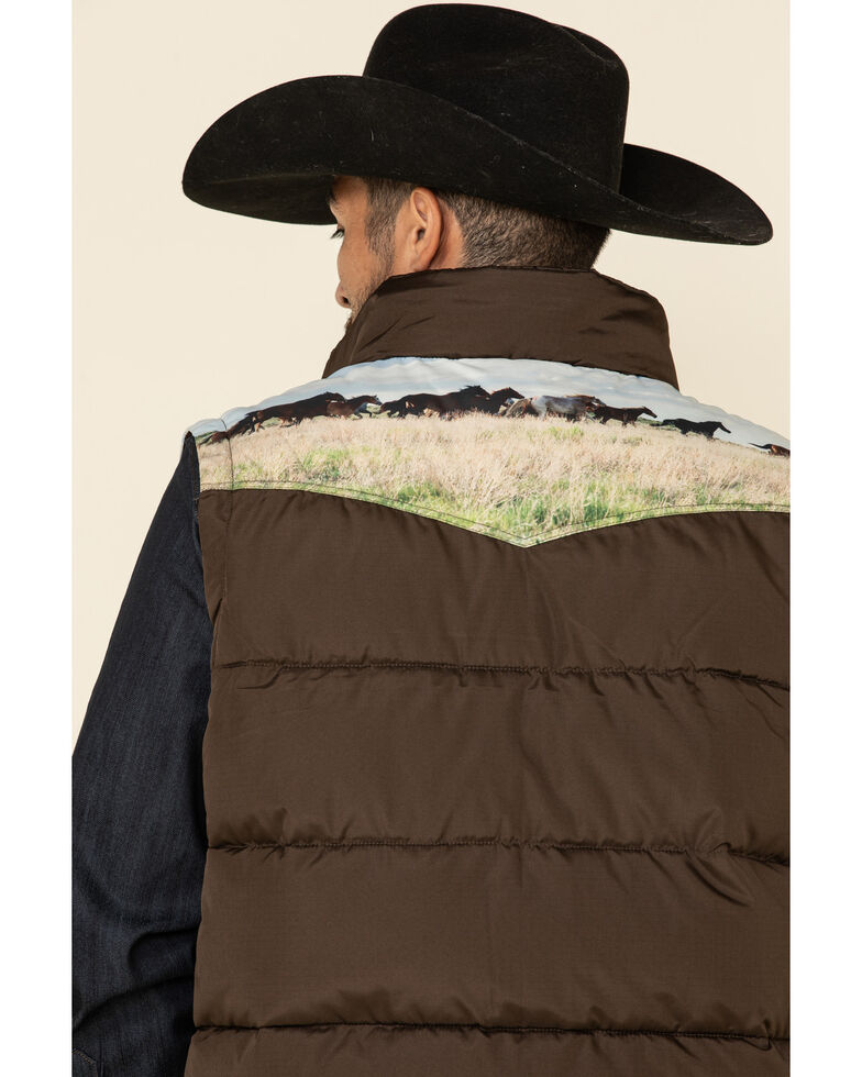 Cinch Men's Brown Sublimated Horse Printed Poly Fill Puffer Vest  , Brown, hi-res