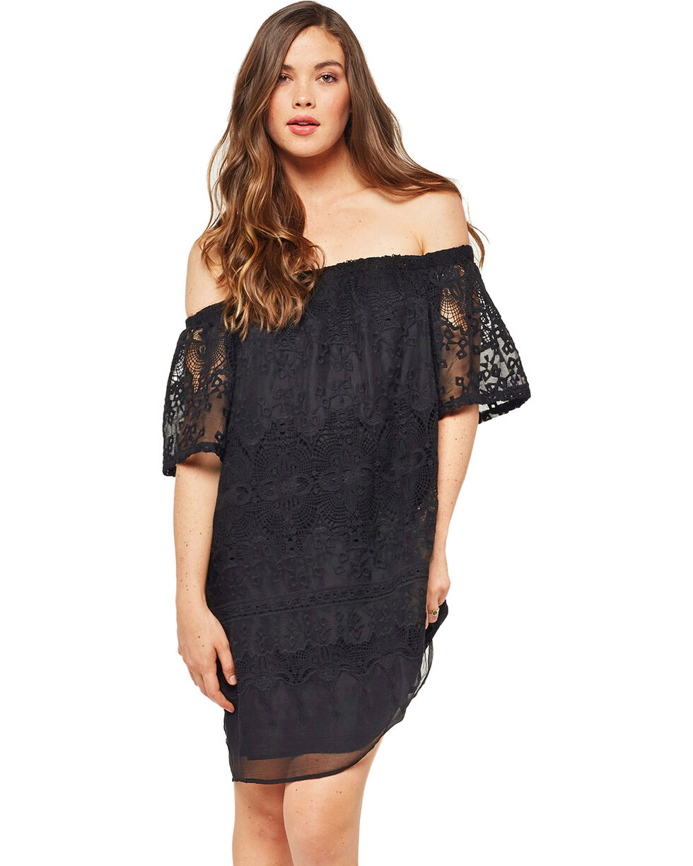 Glam Women's Crochet Embroidered Dress , Black, hi-res