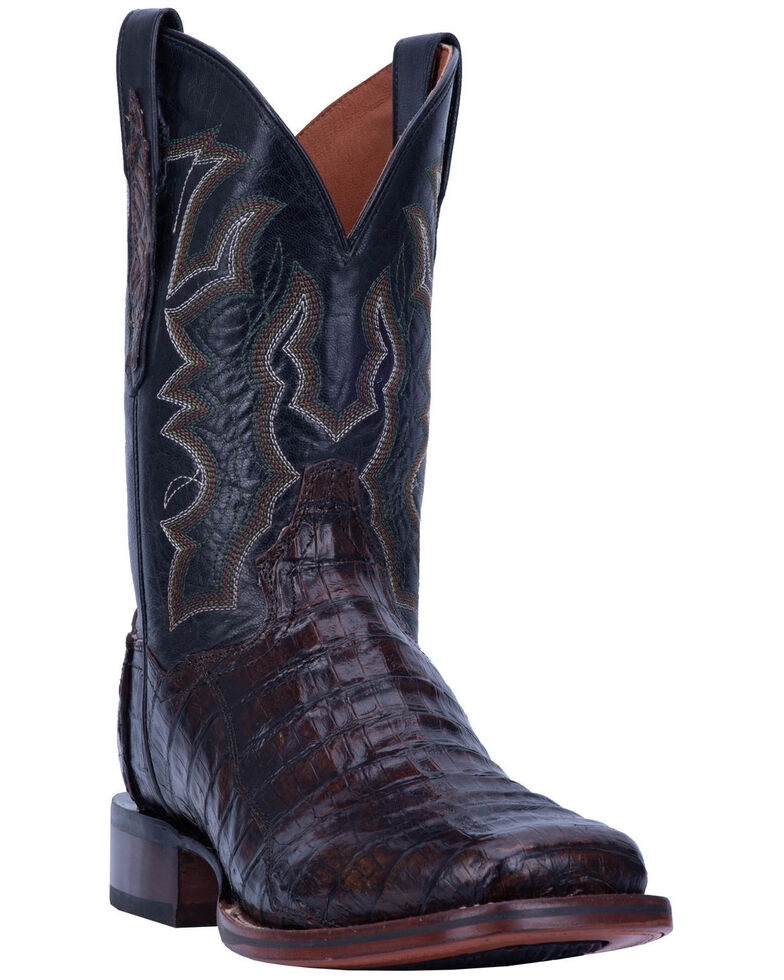 Dan Post Men's Kingsly Caiman Leather Western Boots - Wide Square Toe, Brown, hi-res