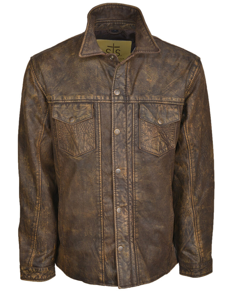 STS Ranchwear Men's Brown The Ranch Hand Leather Jacket , Brown, hi-res