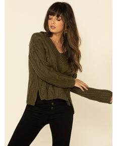 Mystree Women's Olive Cable Knit Pullover Sweater , Olive, hi-res