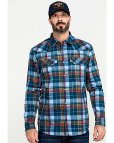 Cody James Men's FR Geo Print Long Sleeve Work Shirt - Big , Light Blue, hi-res