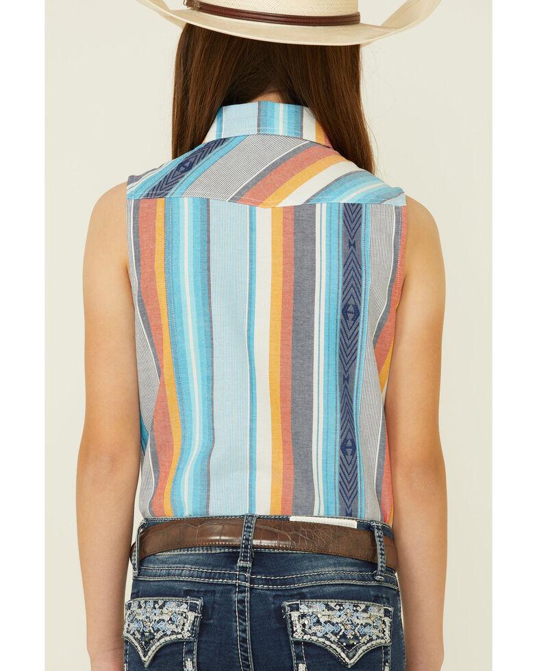 Rock & Roll Denim Girls' Serape Aztec Print Sleeveless Snap Western Shirt , Blue, hi-res