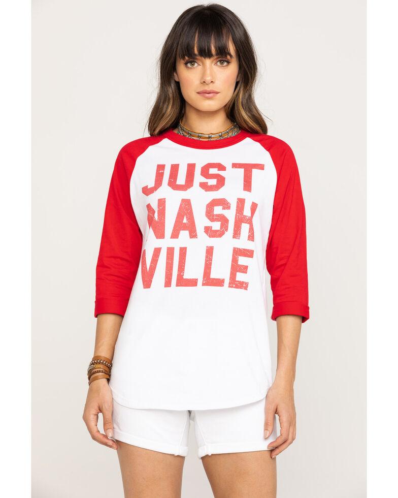 Bohemian Cowgirl Women's Just Nashville Graphic Long Sleeve Raglan Baseball Tee , Red, hi-res
