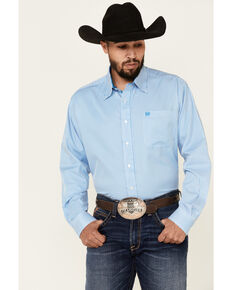Cinch Men's Blue Tencel Stripe Long Sleeve Button-Down Western Shirt , Blue, hi-res