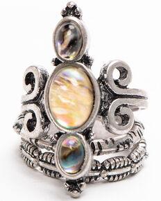 Shyanne Women's Autumn 3 Piece Turquoise Ring Set , Silver, hi-res