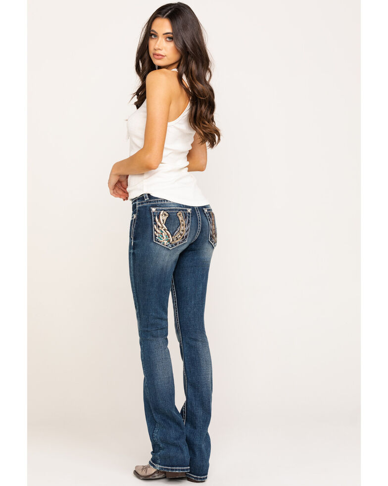 "Miss Me Women's 34"" Medium Horseshoe Wing Bootcut Jeans, Blue, hi-res"