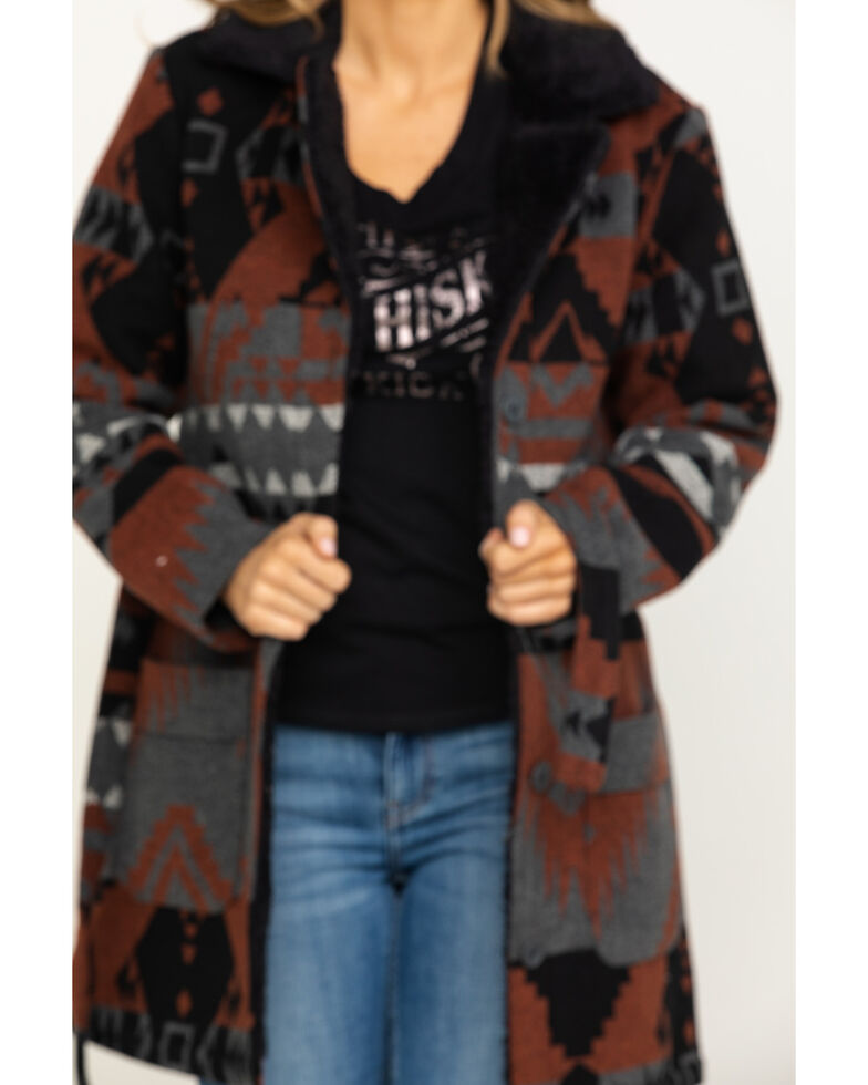 Idyllwind Women's Outlaw Aztec Sherpa Jacket, Rust Copper, hi-res