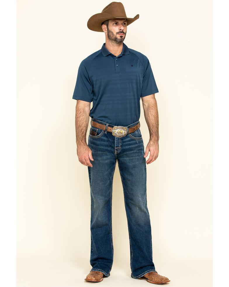 Ariat Men's Blue Edge TEK Striped Short Sleeve Polo Shirt , Blue, hi-res