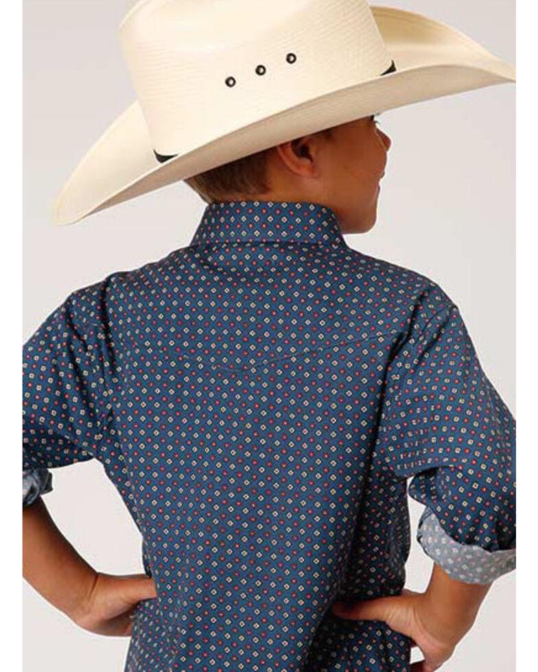 Roper Boys' Amarillo Heritage Navy Foulard Geo Print Short Sleeve Western Shirt  , Navy, hi-res