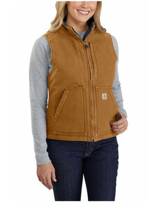 Carhartt Women's Washed Duck Sherpa Lined Vest , Brown, hi-res