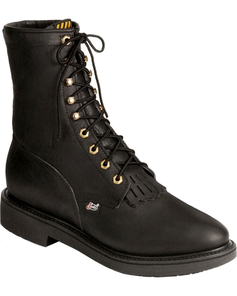 """Justin Men's Conductor 8"""" Lace-Up Work Boots - Soft Toe, Black, hi-res"""