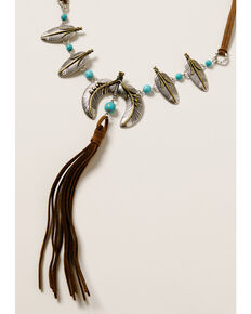 Shyanne Women's Crescent Feather & Leather Tassel Necklace, Silver, hi-res