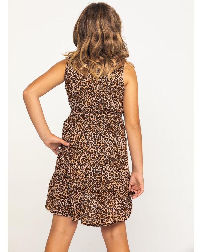 Shyanne Girls' Leopard Print Short Sleeve Dress , Leopard, hi-res