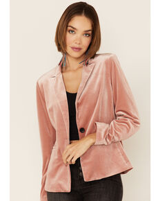 Molly Bracket Women's Pink Velvet Blazer, Pink, hi-res