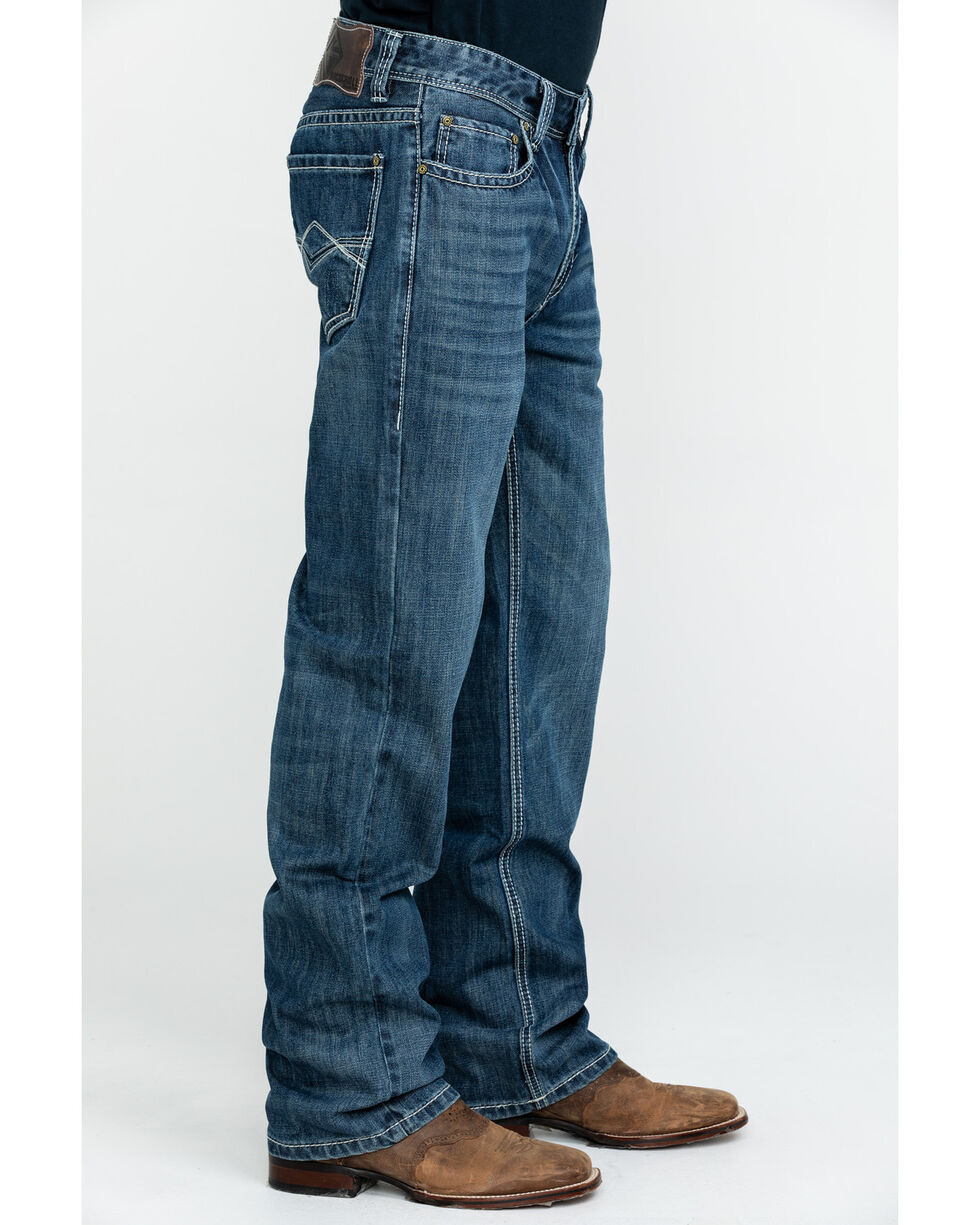 Rock & Roll Cowboy Men's Large Khaki Stitch Double Barrel Straight Jeans , Blue, hi-res