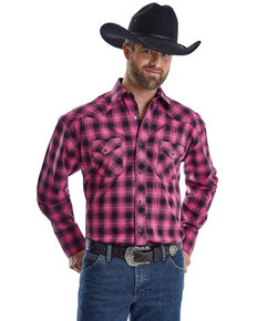 Wrangler Men's Tough Enough To Wear Pink Large Plaid Long Sleeve Western Shirt - Big , Bright Pink, hi-res