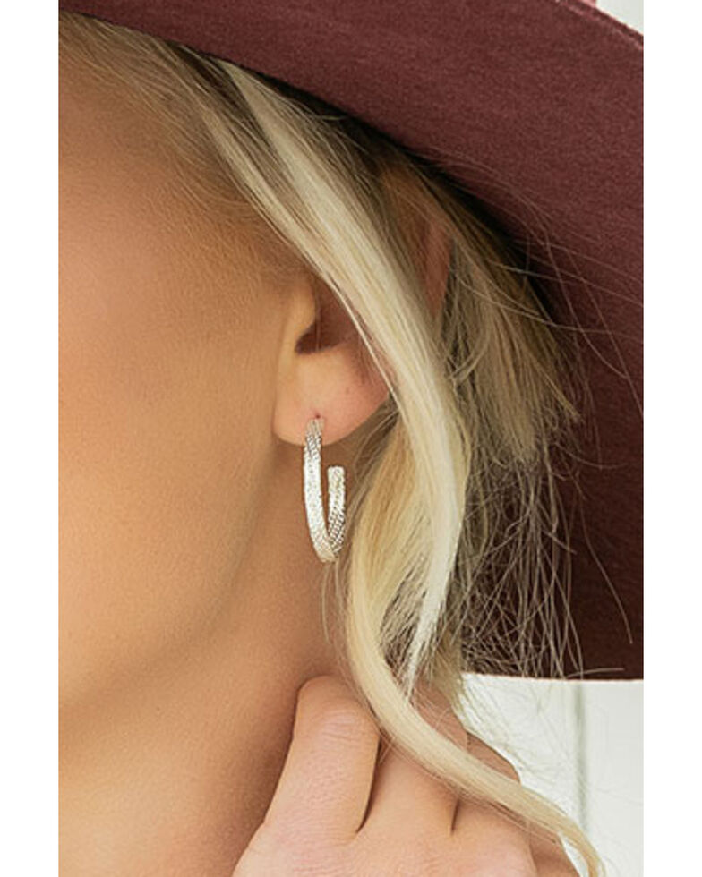 Montana Silversmiths Women's Rippled Rope Hoop Earrings, Silver, hi-res