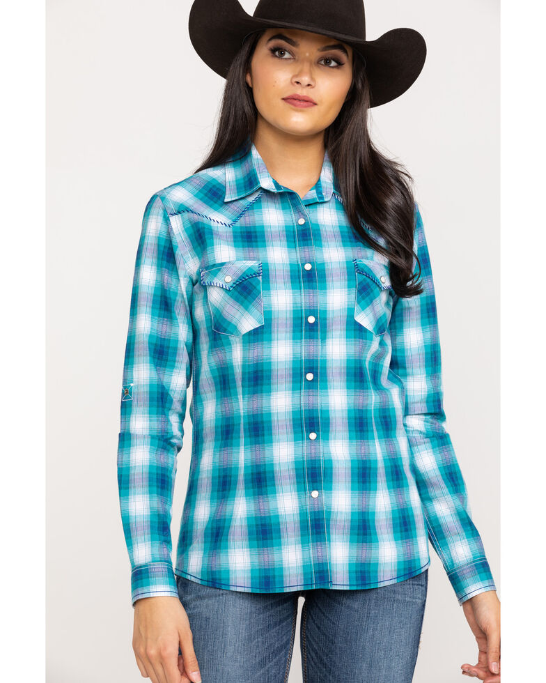 Rough Stock by Panhandle Women's Blue Plaid Long Sleeve Western Shirt, Teal, hi-res