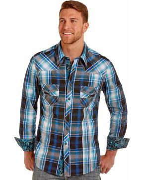 Rock & Roll Cowboy Men's Turquoise Plaid Long Sleeve Shirt , Turquoise, hi-res