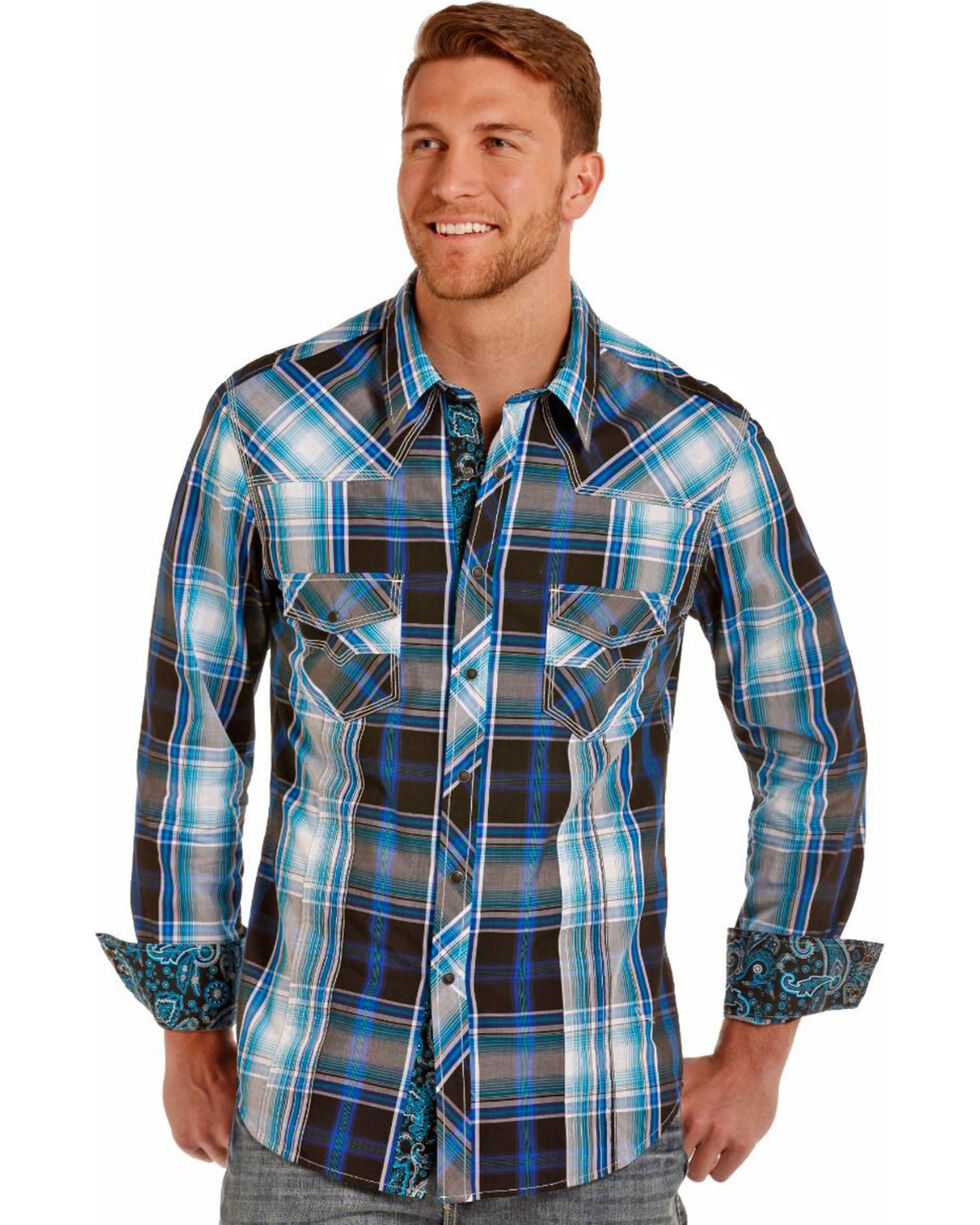 Rock & Roll Cowboy Men's Turquoise Plaid Long Sleeve Shirt , Turquoise, hi-res