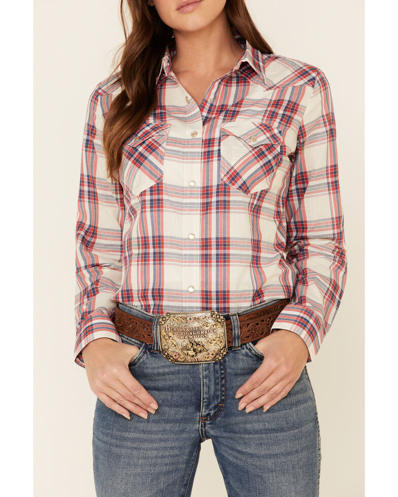 Wrangler Women's Red Essential Plaid Long Sleeve Western Shirt , Red, hi-res