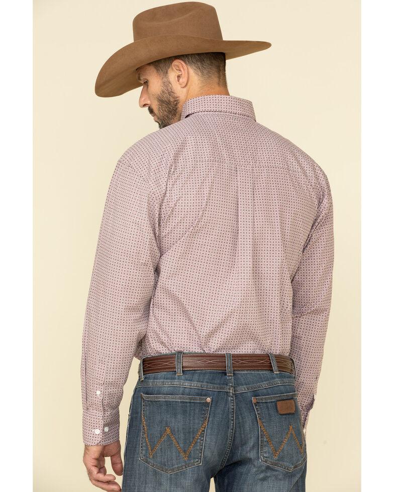 George Strait By Wrangler Men's Burgundy Small Geo Print Long Sleeve Western Shirt , Burgundy, hi-res