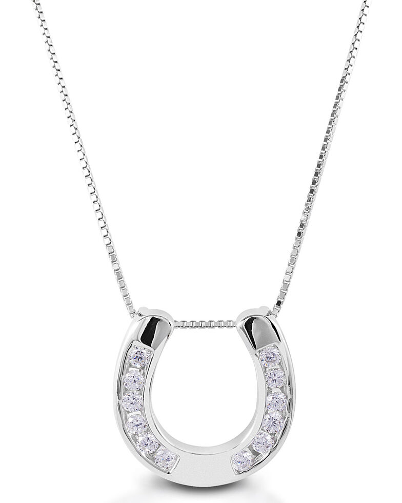 Kelly Herd Women's Large Horseshoe Pendant Necklace , Silver, hi-res