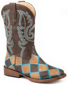 Roper Girls' Patchwork Turquoise Stitch Western Boots - Square Toe, Tan, hi-res