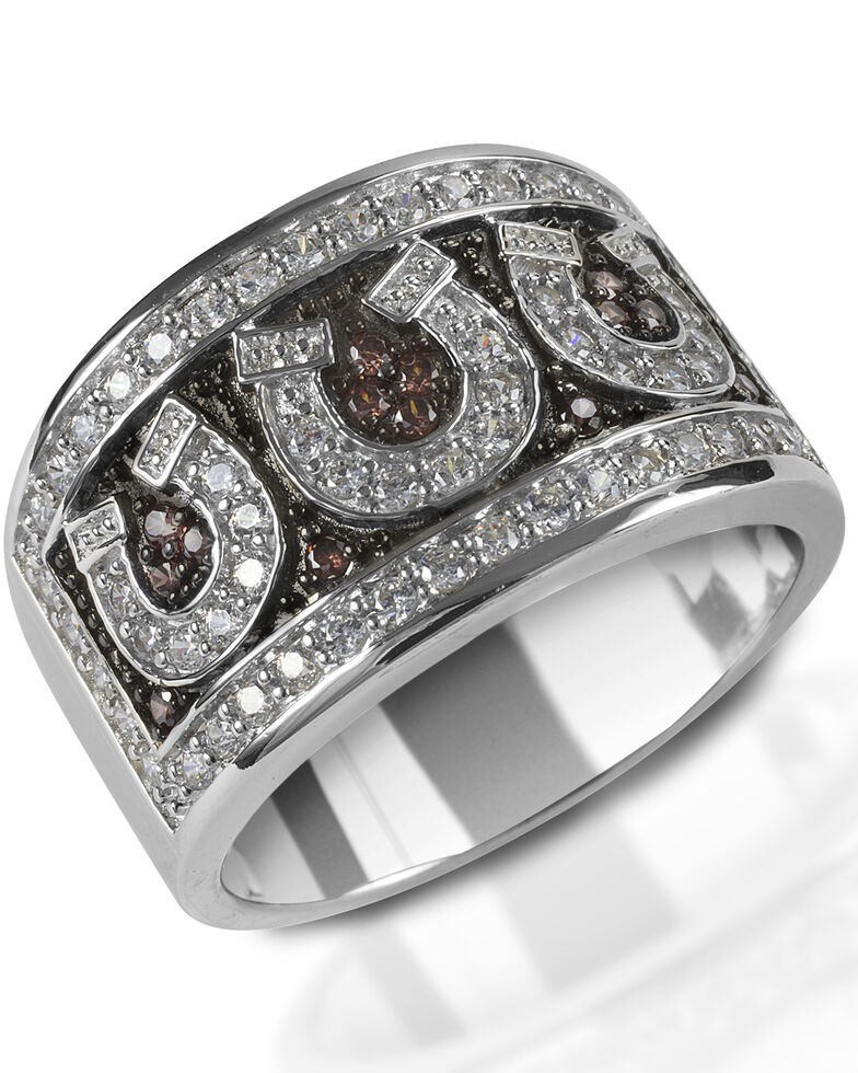 Kelly Herd Women's Pave Horseshoe Ring , Silver, hi-res