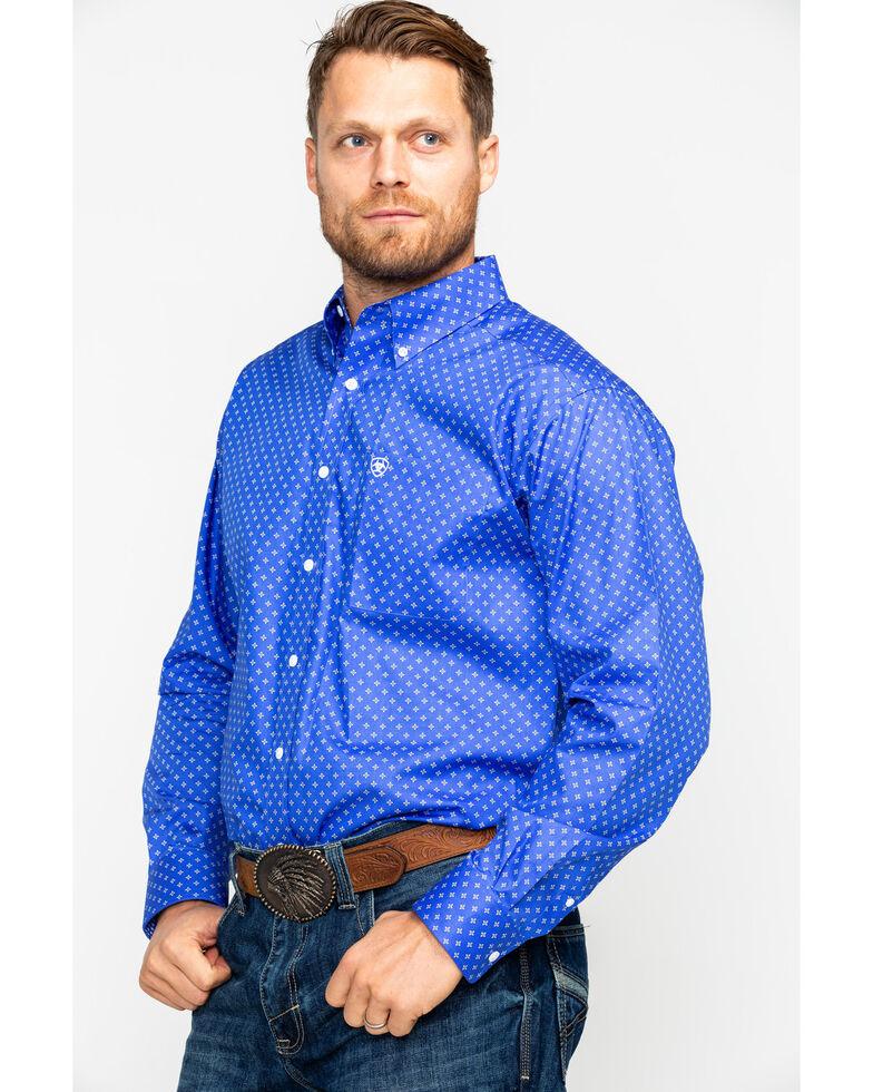 Ariat Men's Landgrigan Geo Print Long Sleeve Western Shirt , Navy, hi-res