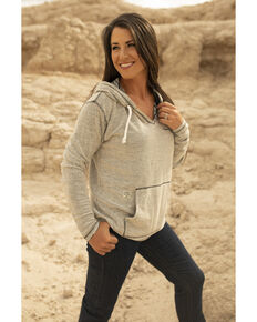 Kimes Ranch Women's Charcoal Aztec Print Embroidered Hoodie , Charcoal, hi-res