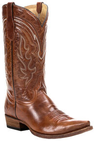 Circle G Men's Whip Stitch Cowboy Boots -  Snip Toe, Cognac, hi-res
