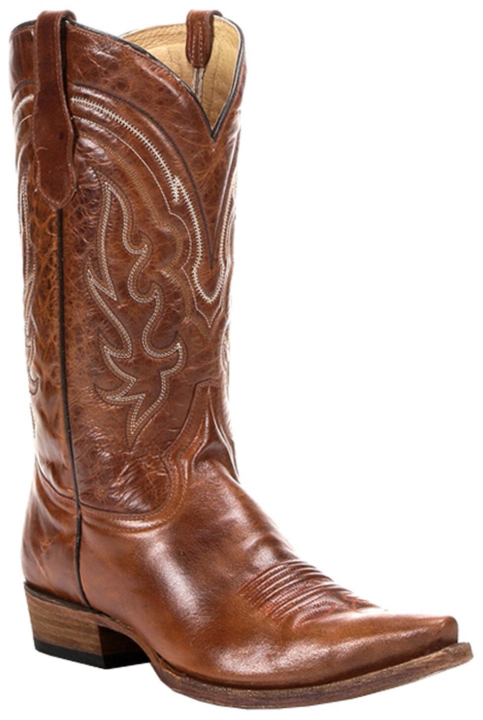 Circle G Men's Whip Stitch Cowboy Boots -  Snip Toe, Cognac, hi-res