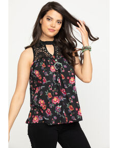 Studio West Women's Floral Print Lace Knit Top, Black, hi-res